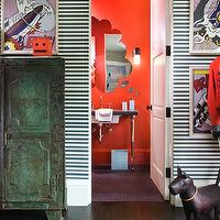 Martha Angus - boy's rooms - white, black, horizontal, stripes, walls, vintage, metal, green, cabinet, comic book, art,  Fun boy's bedroom with