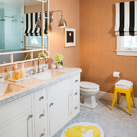 Martha Angus - bathrooms - yellow, tolix, stool, sand, beige, grasscloth, wallpaper, white, black, striped, roman shade, white, double bathroom vanity, marble, countertop, marble, hex, tiles, floor, striped roman shade, black and white roman shade, black and white striped roman shade,