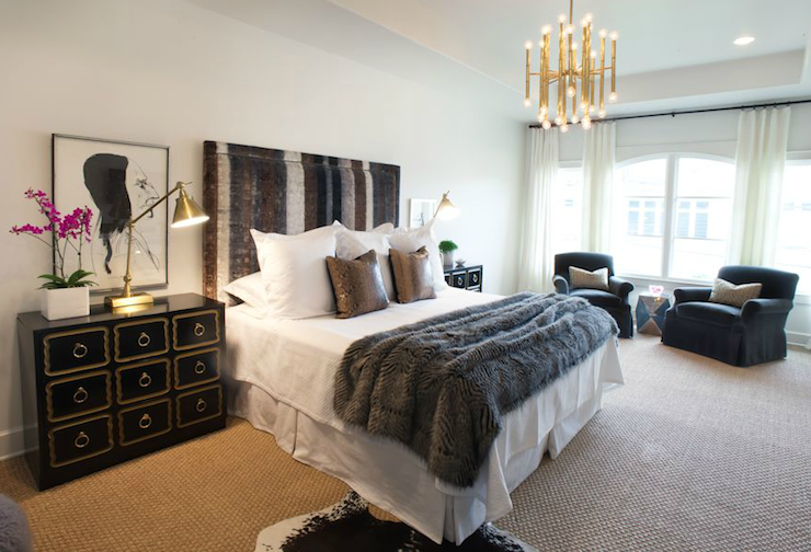Sally Wheat Interiors - bedrooms - Jonathan Adler Meurice Chandelier, brown, blue, silver, gray, mohair, headboard, faux python, snake, pillows, gray, fur throw, Dorothy Draper, chests, nightstands, antique brass, pharmacy lamps, cowhide, rug, layered, sisal, rug,