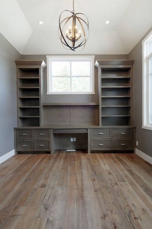 Veranda Interiors - dens/libraries/offices - Pratt and Lambert - Rubidoux - Progress Lighting Equinox Pendant, Benjamin Moore Steam, gray, walls, dark wood, built-ins, built-in desk, built in desks, gray built-ins, gray built-in desk, built in office desk,