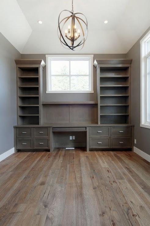 Built In Office Desk, Transitional, den/library/office, Pratt and Lambert Rubidoux, Veranda Interiors