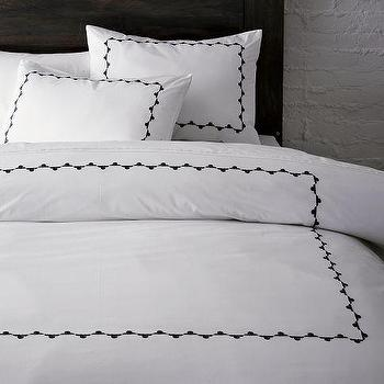 Embroidered Frame Duvet Cover + Shams, west elm