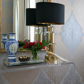 Summer Thornton Design - entrances/foyers - metallic, silver, gold, damask, wallpaper, gold leaf, mirror, Ming, vase, art deco, gold, lamp, peekaboo console table, acrylic console table, CB2 Peekaboo Clear Console Table,