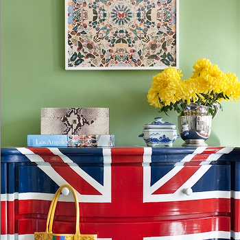 Burnham Design - boy's rooms - green, walls, glossy, Union jack Flag, painted, chest, yellow, accents, accent chest, painted accent chest, union jack chest, union jack painted chest,