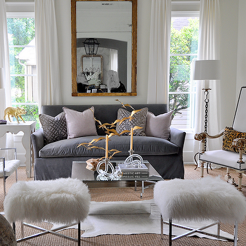 Sally Wheat Interiors - living rooms - pillows, white, drapes, gold leaf, mirror, blue, slipcover, sofa, lilac, pillows, art deco, mirrored, coffee table, modern, white, shag, ottomans, stools, white, cowhide, rug, layered, sisal, rug, velvet sofa, gray sofa, gray velvet sofa, Kelly Wearstler Ombre Maze Lilac,
