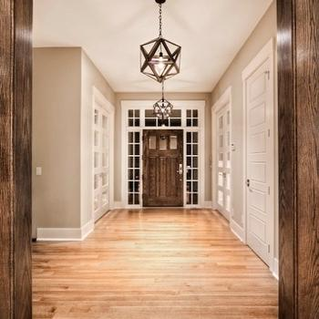 Veranda Interiors - entrances/foyers - greige, walls, coffee stained, door frames, door, mirrored, doors, transom windows, Polyhedron Pendant, Restoration Hardware Steel Polyhedron Medium Pendant,