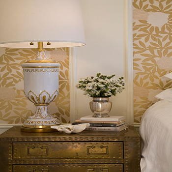 Summer Thornton Design - bedrooms - metallic, gold, art, wall panels, white, gold, urn, lamp, gold, chest, nightstand, gold chest, gold chest of drawers, gold nightstand, metallic wallpaper, gold wallpaper, gold metallic wallpaper, metallic gold wallpaper, gold nightstand, metal nightstand, gold bedside table,