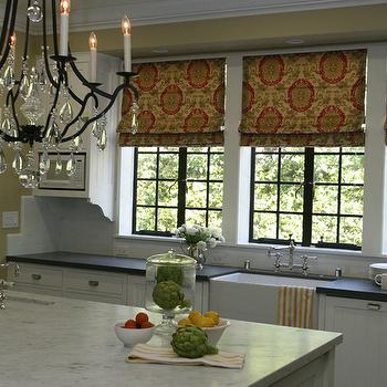 Burnham Design - kitchens - yellow, walls, yellow, orange, roman shades, farmhouse, sink, wood panel, dishwasher, white, beadboard, cabinets, soapstone, countertops, kitchen island, marble, countertop, sink in kitchen island, kitchen roman shades, roman shades kitchen,