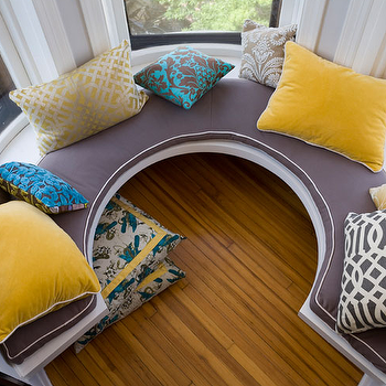 Summer Thornton Design - living rooms - pillows, built-in, u, shaped, window seat, purple, cushion, white, piping, yellow, velvet, pillows, curved window seat, circular window seat, built in window seat, round window seat,