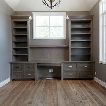 Veranda Interiors - dens/libraries/offices - gray, walls, dark wood, built-ins, built-in desk, built in desks, gray built-ins, gray built-in desk, built in office desk, Progress Lighting Equinox Pendant, Benjamin Moore Steam,