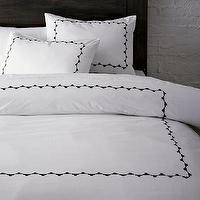 Bedding - Embroidered Frame Duvet Cover + Shams | west elm - embroidered, frame, duvet, shams