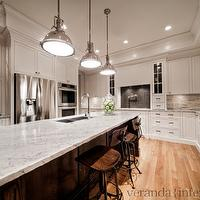 Veranda Interiors - kitchens - white, kitchen cabinets, coffee stained, oak, kitchen island, River White, granite, countertops, pot filler, double ovens, white granite countertops, white granite, , Benjamin Moore White Dove, Restoration Hardware Harmon Pendant, Restoration Hardware Vintage Toledo Chair,