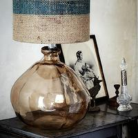 living rooms - blown glass, lamp, burlap, grain, rustic,  Blown glass lamp with burlap/grain sack shade.