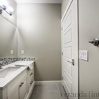 Veranda Interiors - bathrooms - warm, gray, walls, extra-long, single, bathroom vanity, white, quartz, countertop, blue, gray, glass, mosaic, tiles, backsplash, gray bathroom, gray bathroom design, contemporary gray bathroom,