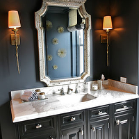 Summer Thornton Design - bathrooms - single, brass, sconces, flanking, silver, ornate, mirror, black, walls, glossy, black, lacquer, bathroom vanity, marble, countertop,