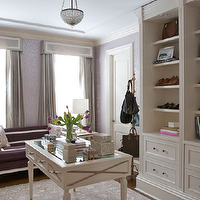 Summer Thornton Design - closets - lilac, metallic, damask, wallpaper, gray, silk, drapes, gray, cornice boxes, plum, velvet, sofa, lilac, ikat, pillows, white, built-ins, white, gold, desk, closet curtains, closet drapes, closet window treatments,