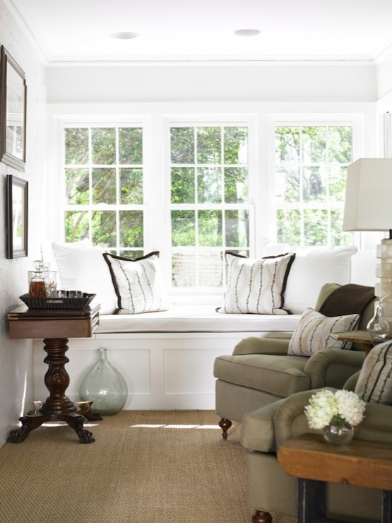 Built In Window Seat Cottage Living Room Courtney Giles Interiors
