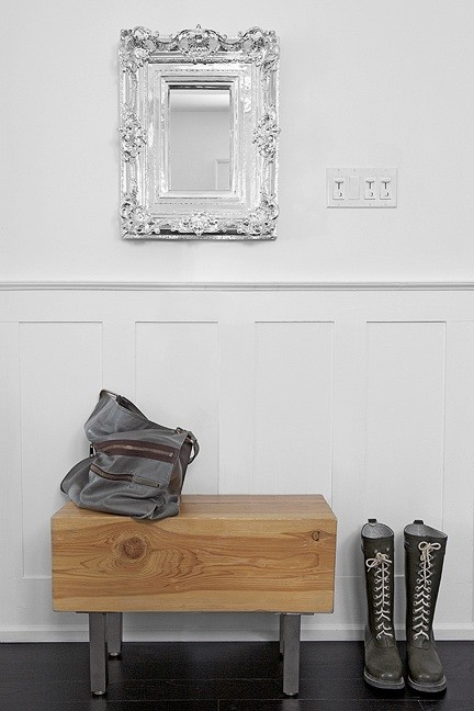 Palmerston Design - entrances/foyers - silver, baroque, mirror, white, board & batten, walls, douglas fir, bench,  Lovely foyer with white board