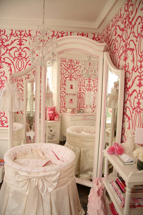 Patricia Halpin Interiors - nurseries - white, pink, damask, wallpaper, white, pink, floor mirror, white, round, crib, white, bow, white, open, bookcase, crystal chandelier, round crib, round crib nursery, girl round crib, girls round crib, skirted round crib, white round crib,