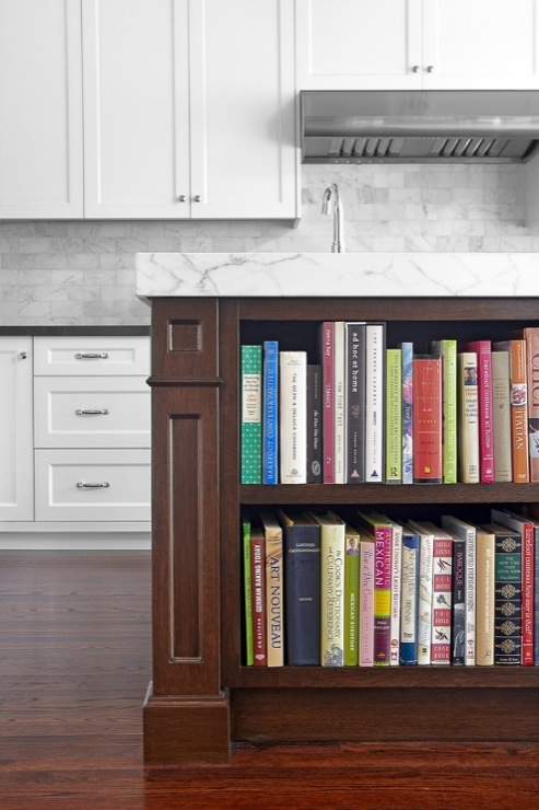 Palmerston Design - kitchens - Benjamin Moore - Chantilly Lace - creamy, white, shaker, kitchen cabinets, black, Caesarstone, quartz, countertops, coffee stained, kitchen island, Statuario, marble, countertop, marble, subway tiles, backsplash, bookcase, kitchen island,