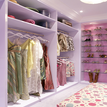 Drake Design Associates - closets - lilac, walk-in, closet, lilac, built-ins, glass, she, shelves, glass shoe shelves, purple closet, pink closet,