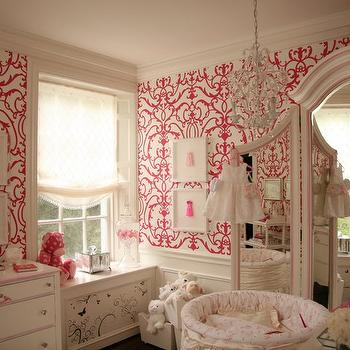 Patricia Halpin Interiors - nurseries - white, pink, damask, wallpaper, round, white, crib, white, floor mirror, crystal, chandelier, wallpaper for girl nursery, girl nursery wallpaper, pink damask wallpaper, white and pink damask wallpaper, hot pink damask wallpaper,