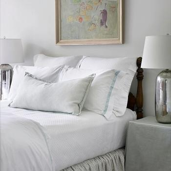 Courtney Giles Interiors - bedrooms: gray, walls, antique, wood, bed, white, bedding, turquoise, blue, trim, gray, velvet, pillow, gray, bed skirt, mercury glass, lamps, gray, skirted nightstand, gray skirted nightstand, skirted bedside table, gray skirted bedside table,