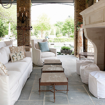 Aidan Gray Home - decks/patios - slate, tiles, floor, stone, fireplace, white, slipcover, cube, ottomans, white, slipcover, sofa, chair, powder, blue, pillow, beachy, pillows, outdoor fireplace,