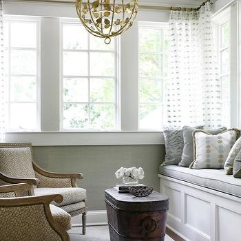 Courtney Giles Interiors - living rooms - antique, brass, pendant, gray, grasscloth, wallpaper, white, built-in, window seat, gray, cushion, gray, yellow, pillows, antique, trunk, coffee table, Bergere, chairs, grey grasscloth, gray grasscloth, grey grasscloth wallpaper, gray grasscloth wallpaper,