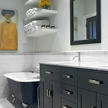 Palmerston Design - bathrooms - gray, blue, walls, marble, pencil rail, black, clawfoot, tub, marble, tiles, floor, white, floating shelves, gray bathroom walls, gray walls, gray paint, gray paint colors, Costco Studio Bathe Kalize Double Vanity with Mirrors, Julie et l'Univers by Jean Paul Lemieux,