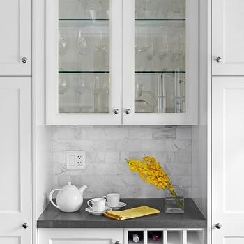 Palmerston Design - kitchens - glass, front, shaker, kitchen cabinets, gray, Caesarstone, stone, countertops, built-in, wine, rack, wine rack, built in wine rack,