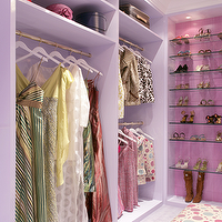 Drake Design Associates - closets - lilac, walk-in, closet, lilac, built-ins, glass, she, shelves,  Lilac walk-in closet design with lilac built-ins