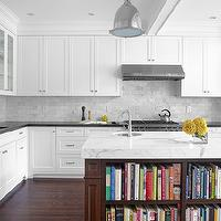 Palmerston Design - kitchens - creamy, white, shaker, kitchen cabinets, black, Caesarstone, quartz, countertops, coffee stained, kitchen island, Statuario, marble, countertop, marble, subway tiles, backsplash, small, round, sink in kitchen island,