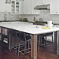 Palmerston Design - kitchens - coffered ceiling, creamy, white, shaker, kitchen cabinets, black, Caesarstone, quartz, countertops, walnut, kitchen island, posts, calcutta, marble, countertop, marble, subway tiles, backsplash, sink in kitchen island, Restoration Hardware Benson Pendant,