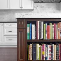 Palmerston Design - kitchens - creamy, white, shaker, kitchen cabinets, black, Caesarstone, quartz, countertops, coffee stained, kitchen island, Statuario, marble, countertop, marble, subway tiles, backsplash, bookcase, kitchen island,