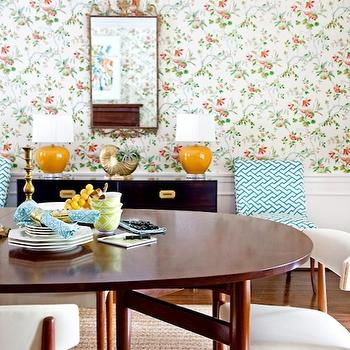 Mona Ross Berman Interiors - dining rooms - white, blue, chairs, flanking, glossy, black, campaign, chest, buffet, yellow, lamps, floral, wallpaper, chair rail, wainscoting, mid-century moder, oval, dining table, dining chairs, Quadrille China Seas Aga Turquoise on Tint Fabric,