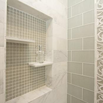 White Stone Subway Tile In Shower Design Decor Photos