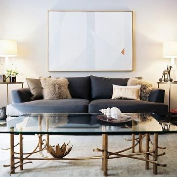 Scout Designs NYC - living rooms - blue, sofa, round, brass, end tables, vintage, brass, glass-top, coffee table, brass coffee table, brass and glass coffee table, brass glass coffee table,