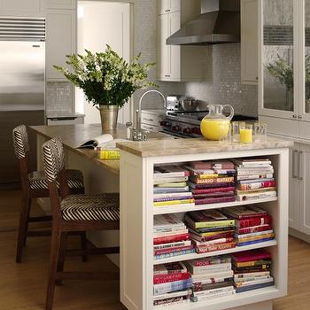 Tara Seawright - kitchens - silver, white, glass, mosaic, tiles, backsplash, off-white, kitchen island, granite, countertops, open bookcase, zebra, counter stools, zebra bar stools, zebra counter stools, cookbook shelf, island cookbook shelf,