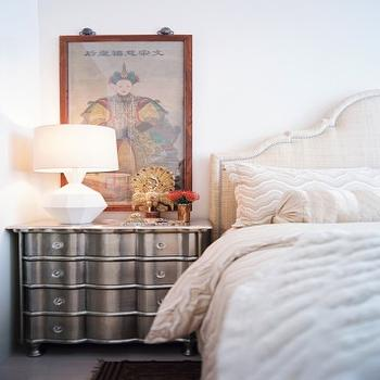 Scout Designs NYC - bedrooms - off-white, natural, linen, headboard, silver, chest, white, lamp, silver nightstand, silver chest,  Chic bedroom