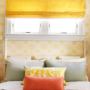 Mona Ross Berman Interiors - bedrooms - yellow, linen, roman shade, white, yellow, wallpaper, glossy, white, faux bamboo, bed, gray, pillows, yellow, piping, yellow, ikat, pillow, persimmon, pillow, yellow pillow, ikat pillow, yellow ikat pillow,