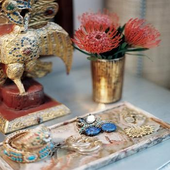 Scout Designs NYC - bedrooms - gold, vase, stone, tray, jewelry, marble tray, marble jewelry tray,  Chic vignette with hold vase, stone tray