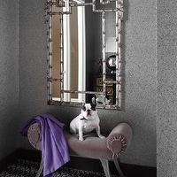 Tara Seawright - entrances/foyers - silver, gray, walls, plum, velvet, bench, purple, throw, French, bull dog, silver, faux bamboo, mirror, faux bamboo mirror, bamboo mirror, pagoda mirror, silver faux bamboo mirror, silver bamboo mirror, silver pagoda mirror,