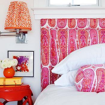 Mona Ross Berman Interiors - bedrooms - hot pink, paisley, headboard, bolster pillow, glossy, red, garden stool, table, polished nickel  single, sconce, tangerine, shade, yellow, orange, accents, pink headboard, pink upholstered headboard,