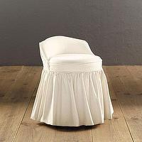 Seating - Monogrammed Slipcovered Swivel Stool | Ballard Designs - monogrammed, slipcovered, swivel, vanity, stool