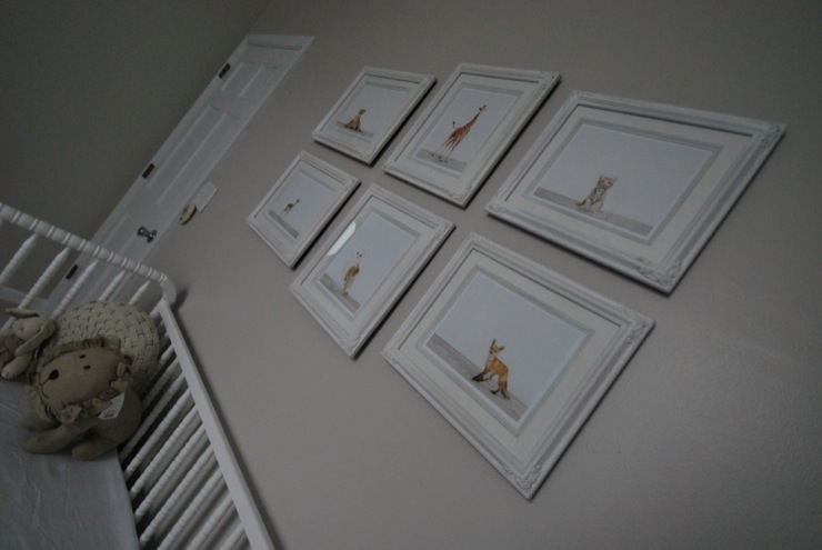 nurseries - Olympic - Tightrope - Sharon Montrose Animal Prints, Jenny Lind Davinci crib, Restoration Hardware Baby and Child Chambray animal Lion, nursery art wall, nursery art gallery,