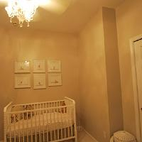 nurseries - Jenny Lind DaVinci Crib, Restoration Hardware Baby & Child Embroidered Trellis Crib Skirt in Ivory, Home Decorators Elephant Hamper, and Sharon Montrose Animal Prints.,