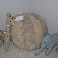 nurseries - Restoration Hardware Baby & Child World Ottoman, chambray animal natural giraffe & elephant,  Restoration Hardware Baby & Child World