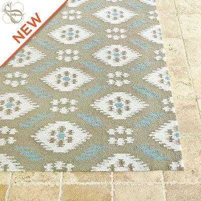 Suzanne kasler indoor outdoor ikat rug european inspired for Ballard designs bathroom rugs