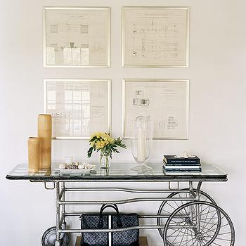 Douglas Friedman - entrances/foyers - bicycle, console, table, art, bicycle console table, repurposed console table,  Bicycle console table with